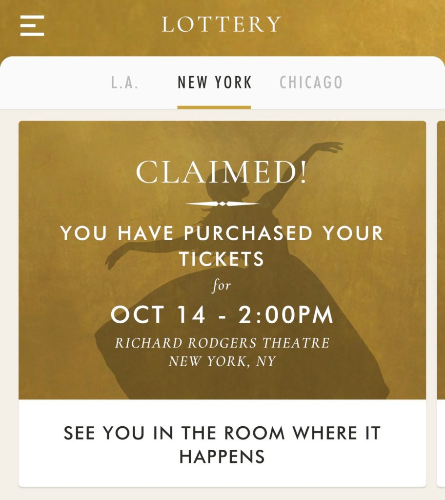 How to win the Hamilton ticket lottery. Download the app.