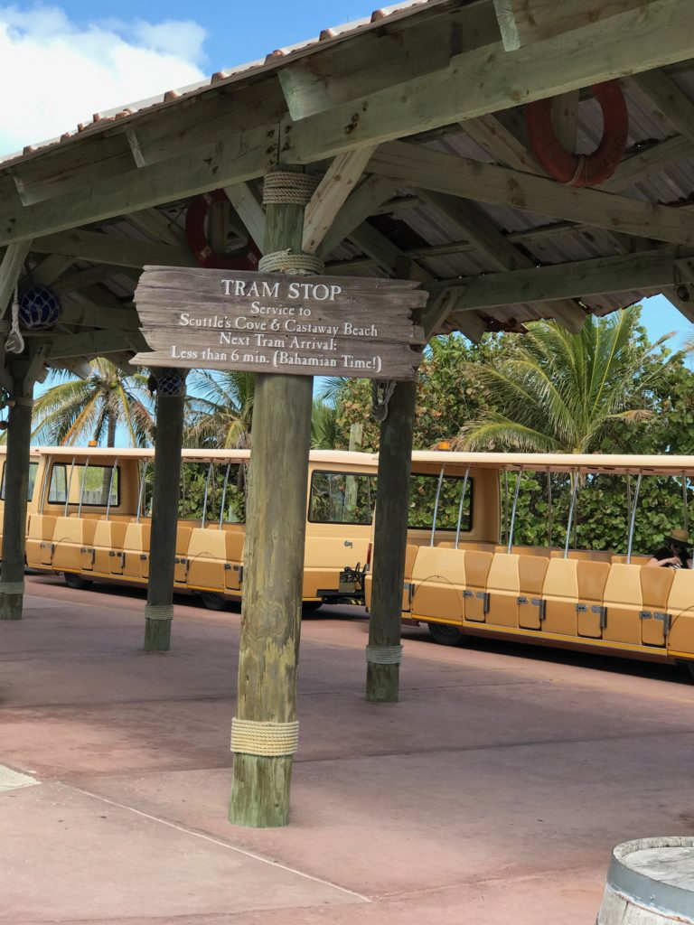 Top 11 Tips for Visiting Disney Castaway Cay. Taking the tram around Castaway Cay is a great option for tired kids.