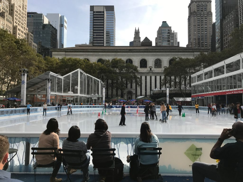 Ice Skating is free at NYC's Bryant Park so just bring your skates and helmets.