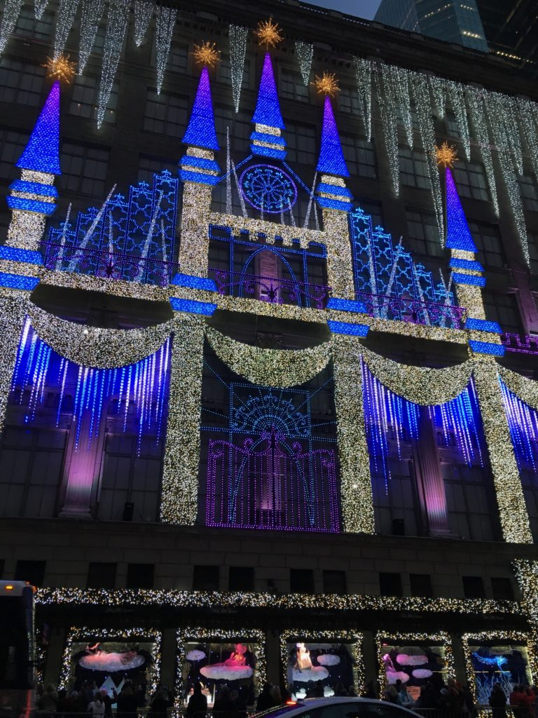 The holiday light show at Saks is one of the Top 10 New York City holiday activities for families.