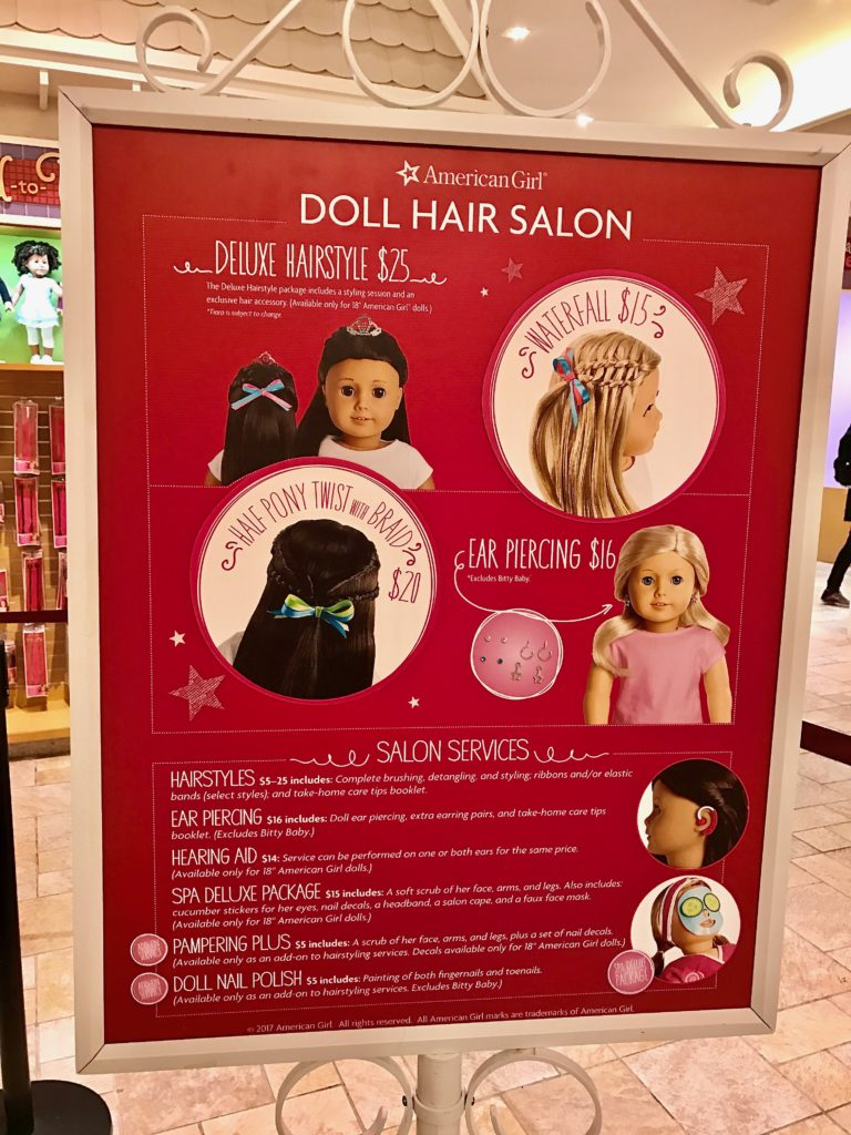 The American Girl Doll Hair Salon is adorable. Tips for Visiting American Girl Place in NYC. Dolls