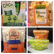 Kid friendly snacks, banana chips, chick peas, GoGo Squeeze, PackEms
